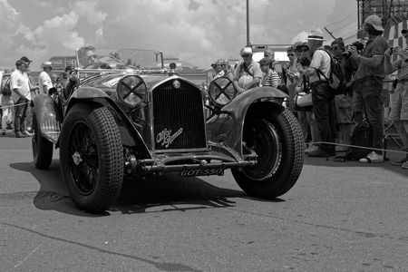 LE MANS, FRANCE, July 6, 2018 : Very old racing car during Le Mans Classic on the circuit of the 24 hours. No other event in the world assembles so many old racing cars in the same place than Le Mans Classic.