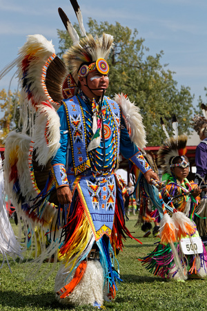 BISMARK, NORTH DAKOTA, September 8, 2018 : A dancer of the 49th annual United Tribes Pow Wow, one large outdoor event that gathers more than 900 dancers and musicians celebrating native american cultu