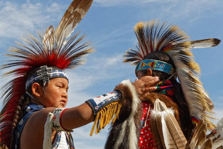 BISMARK, NORTH DAKOTA, September 8, 2018 : 49th annual United Tribes Pow Wow, one of largest outdoor event, gathers in Bismark more than 900 dancers and musicians celebrating native american culture.