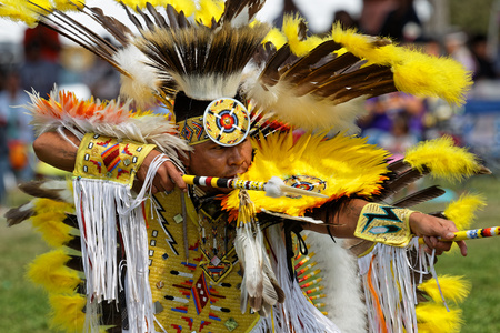 BISMARK, NORTH DAKOTA, September 9, 2018 : A dancer of the 49th annual United Tribes Pow Wow, one large outdoor event that gathers more than 900 dancers and musicians celebrating native american cultu