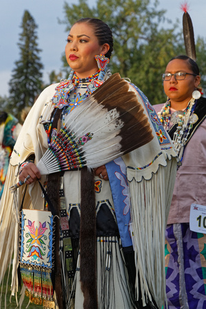 BISMARK, NORTH DAKOTA, September 8, 2018 : Women dancers of the 49th annual United Tribes Pow Wow, one large outdoor event that gathers more than 900 dancers and musicians celebrating native american culture.