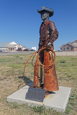 FAITH, SOUTH DAKOTA, September 7, 2018 : Steel statue of Bud Day a famous cowboy and rodeo competitor of South Dakota. Editorial