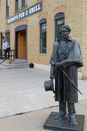 RAPID CITY, SOUTH DAKOTA, September 11, 2018 : The City of Presidents is a series of life-size bronze statues of past presidents along Rapid City streets.