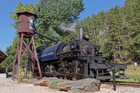 KEYSTONE, SOUTH DAKOTA, September 16, 2018 : The 1880 Train, oldest operating tourist train in US. It follow the original route of the Railroad laid down in the 1880s to service the mines and mills between Hill City and Keystone.
