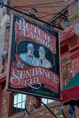 DEADWOOD, SOUTH DAKOTA, September 26, 2018 : Saloon sign in Deadwood. The entire city is a National Historic Landmark District for its well-preserved Gold Rush era architecture. Editorial