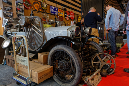 LYON, FRANCE, November 9, 2018 : Old car in the show. The annual Motorshow Epoq'Auto, gathering more than 60,000 fans of old cars, takes place in Lyon. Editöryel