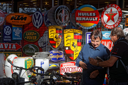 LYON, FRANCE, November 9, 2018 : Spare parts store at the annual Motorshow Epoq'Auto, gathering more than 60,000 fans of old cars. Editöryel