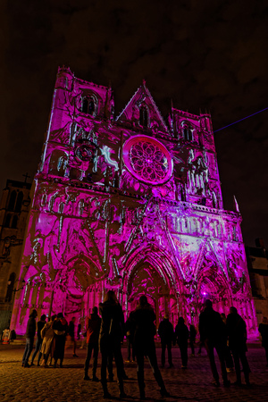 LYON, FRANCE, December 5, 2018 : Cathedral during Festival of the lights in Lyon. For 4 nights, different artists light up buildings, streets mixing poetry, splendor of the monuments and astonishing artistic creations