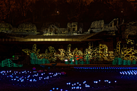 LYON, FRANCE, December 6, 2018 : Roman theater during Festival of the lights. For 4 nights, different artists light up buildings, streets mixing splendor of the monuments and artistic creations.