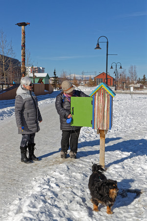 WHITEHORSE, YUKON, CANADA, March 8, 2019 : Smallest library of Yukon. Whitehorse is the capital and only city of Yukon, and the largest city in Northern Canada.