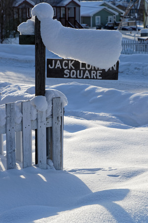 DAWSON CITY, YUKON, CANADA, March 10, 2019 : Jack London Museum. Dawson City is inseparably linked to the Klondike Gold Rush as featured in the novels of American author Jack London. Editorial