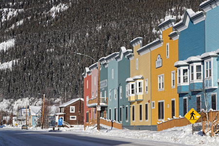 DAWSON CITY, YUKON, CANADA, March 10, 2019 : A street of the city, linked to the Klondike Gold Rush and featured prominently in the novels of American author Jack London.