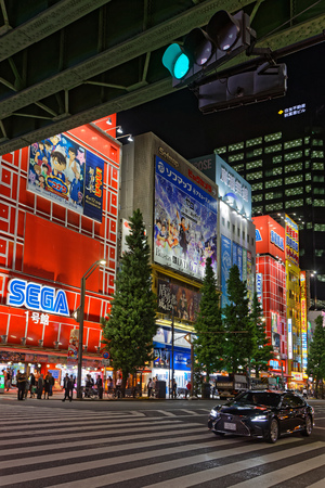 TOKYO, JAPAN, May 15, 2019 : Lights of Akihabara by night. The Greater Tokyo Area is ranked as the most populous metropolitan area in the world. 에디토리얼