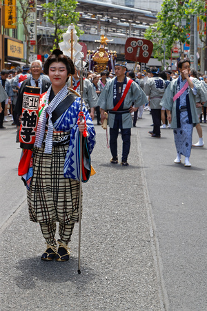 TOKYO, JAPAN, May 12, 2019 : Kanda Matsuri (or Kanda Festival) is one of the great Shinto festivals of Tokyo and is held in May, in odd-numbered years.