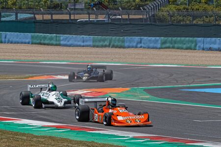 MAGNY-COURS, FRANCE, June 29, 2019 : Formula one pack at the chicane. French Historic Grand Prix takes place on Magny-Cours race track every two years.