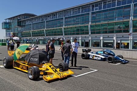 MAGNY-COURS, FRANCE, June 29, 2019 : On the F1 starting grid. French Historic Grand Prix takes place on Magny-Cours race track every two years.