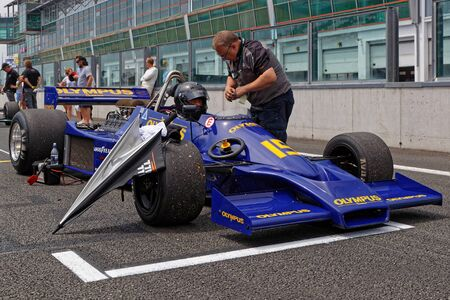 MAGNY-COURS, FRANCE, June 30, 2019 : On the F1 starting grid. French Historic Grand Prix takes place on Magny-Cours race track every two years. Sajtókép
