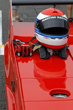 MAGNY-COURS, FRANCE, June 30, 2019 : An helmet on starting grid. French Historic Grand Prix takes place on Magny-Cours race track every two years.