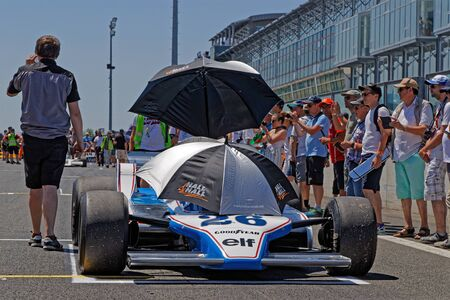 MAGNY-COURS, FRANCE, June 29, 2019 : On the F1 starting grid. French Historic Grand Prix takes place on Magny-Cours race track every two years. Sajtókép