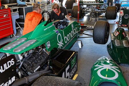 MAGNY-COURS, FRANCE, June 29, 2019 : In the pits. French Historic Grand Prix takes place on Magny-Cours race track every two years.