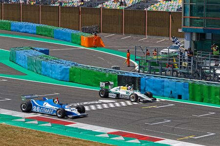 MAGNY-COURS, FRANCE, June 30, 2019 : F1 race chequered flag. French Historic Grand Prix takes place on Magny-Cours race track every two years. Editoriali