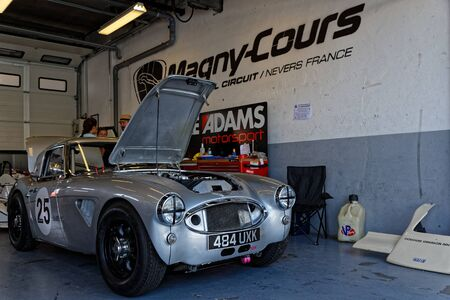 MAGNY-COURS, FRANCE, June 29, 2019 : In the pits. French Historic Grand Prix takes place on Magny-Cours race track every two years. Sajtókép