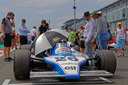 MAGNY-COURS, FRANCE, June 30, 2019 : On the F1 starting grid. French Historic Grand Prix takes place on Magny-Cours race track every two years.