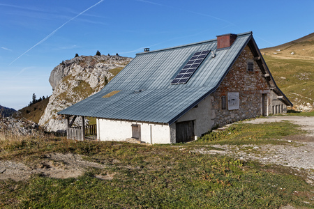 A sheepfold on the Charmant-Som, a summit in Chartreuse, French Alps