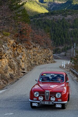 PRADELLE, FRANCE, February 4, 2020 : Historic Monte-Carlo Rally runs on the roads of South of France. This 23rd edition hosts 310 teams from 28 countries with 40 brands of old cars. 報道画像