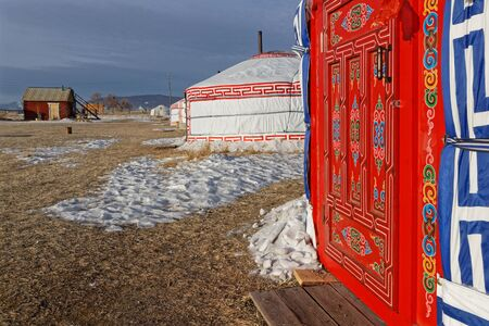 A yurts camp in Mongolia, during winter