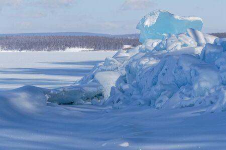Ice on the white frontier, Khovsgol lake, Mongolia Stock Photo