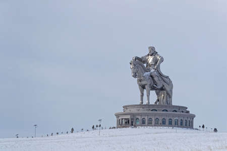 TSONJIN BOLDOG, MONGOLIA, March 9, 2020 : The Genghis Khan Equestrian Statue, a 40 meters tall statue of Genghis Khan on horseback, on the bank of the Tuul River was built in 2008.