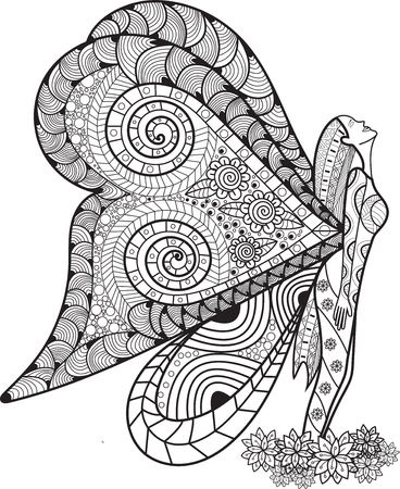 Hand drawn angle butterfly style inspired for t-shirt design or tattoo. Coloring book for kids and adults. Illustration
