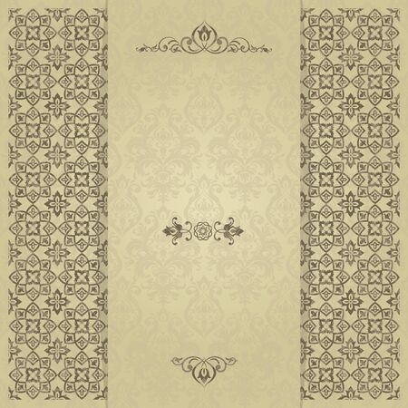 gold ornaments: Vintage invitation card with Victorian ornaments in gold