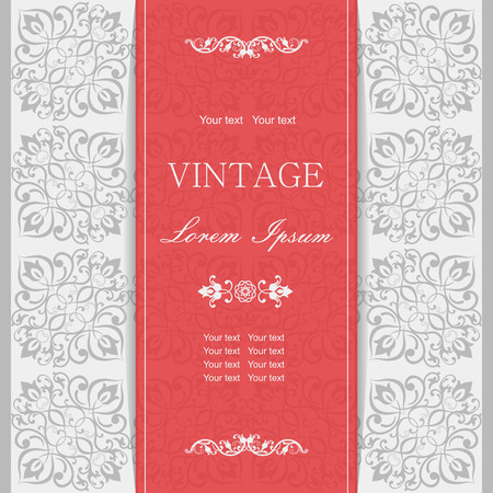 baroque border: Vintage invitation card with Victorian ornaments Illustration