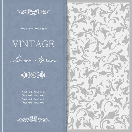 baroque border: vintage invitation card with victorian pattern