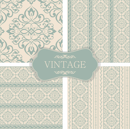 grid background: Vector set of four gentle backgrounds. Flowers, curls and leafs.
