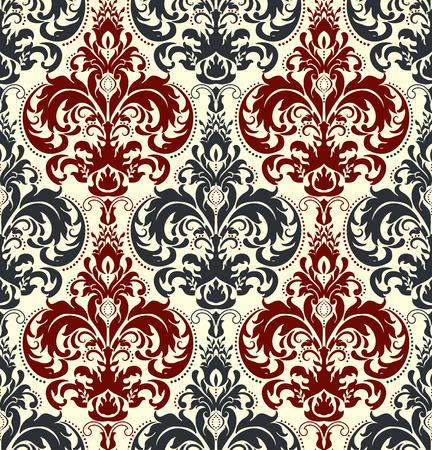 Un fond sans couture dans le style de Damas. Ornement vintage. Utilisation pour papier peint, impression sur papier d'emballage, textiles, carreaux de céramique. Vecteurs