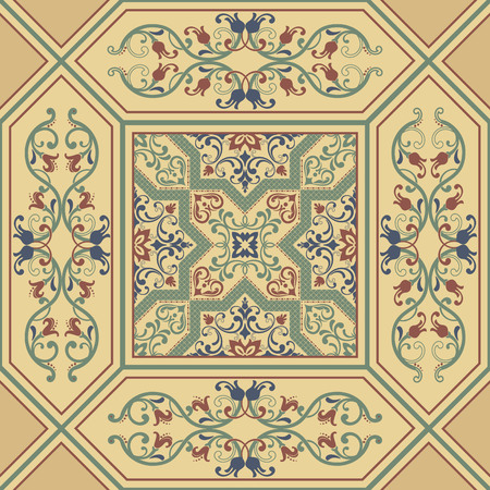 old fashioned: Vector damask seamless pattern element. Classical luxury old fashioned damask ornament, royal victorian seamless texture for wallpapers, tiles, textile, wrapping. Exquisite floral baroque template. Illustration