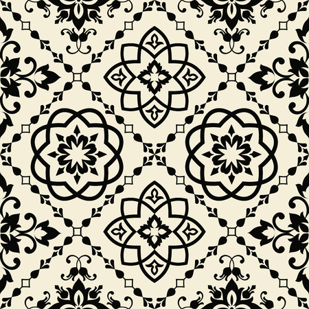 Damask seamless floral pattern. Royal wallpaper. Flowers on a black background. Graphic pattern. Tile Ilustrace