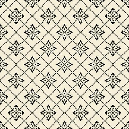 Damask seamless floral pattern. Royal wallpaper. Flowers on a black background. Graphic pattern. Tile Illustration