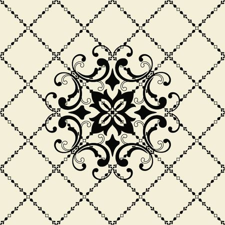 Vintage seamless pattern in Portugal style. Azulejo. Turkish ornament. Moroccan tile mosaic