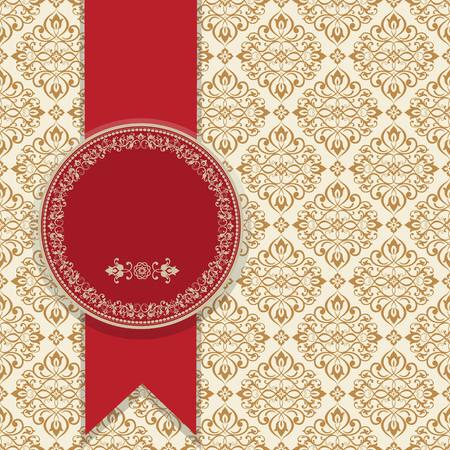 Wedding invitation cards baroque style red, brown and gold. Vintage Pattern. Damascus style ornament. Frame with flowers elements.