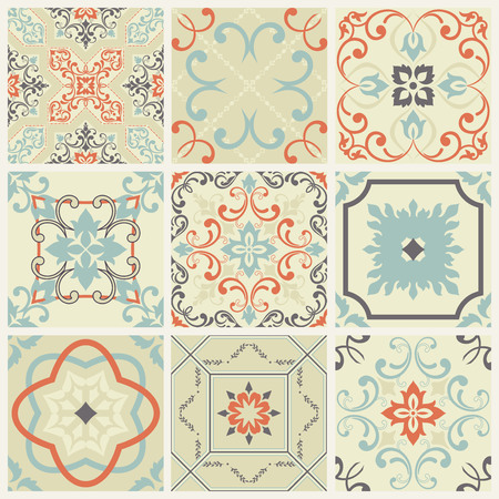 ornamental floral seamless texture collection, lace pattern, kaleidoscope ornament. set of abstract floral seamless pattern Ilustrace