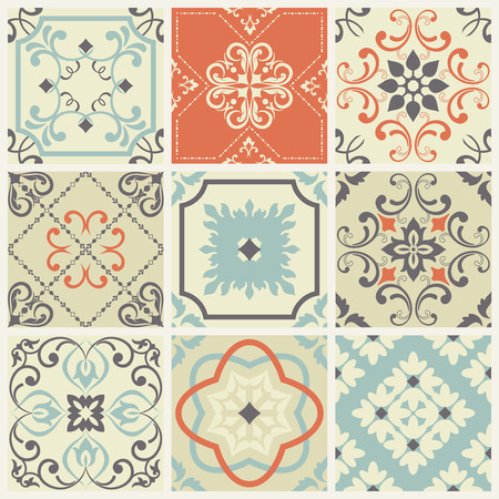 Seamless vintage pattern with colorful patchwork in turkish style. Endless pattern can be used for ceramic tile, wallpaper, linoleum, textile, web page background. Vector illustration
