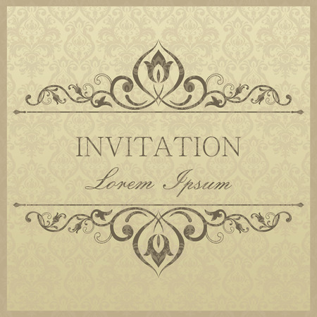 Antique baroque wedding invitation card in old-fashioned style Ilustrace
