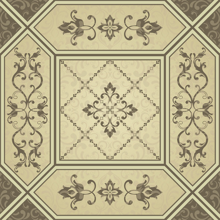 Vintage golden color pattern in turkish style. Endless pattern can be used for tile, wallpaper, linoleum, textile, web page background. Vector Ilustrace
