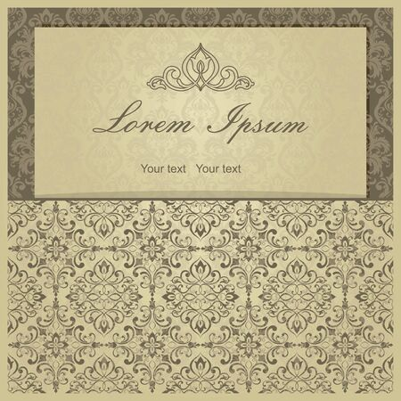 Template greeting card, invitation and advertising banner, brochure with space for text. Vintage Invitation or wedding card with damask pattern and elegant floral elements of gold color