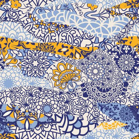 Azulejos tiles patchwork. Seamless colorful patchwork. Hand drawn seamless abstract pattern from mandalas. Majolica pottery tile, blue, yellow azulejo. Original traditional Portuguese and Spain decor
