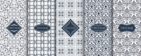 Set of Vintage seamless damask pattern. Template greeting card, invitation and advertising banner, brochure. Collection of design elements, labels, icon, frames for packaging, design of luxury product Иллюстрация
